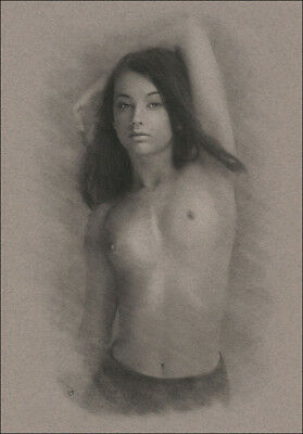 Female Nude ORIGINAL DRAWING Charcoal Art naked lady arm raised NO RESERVE n/r !
