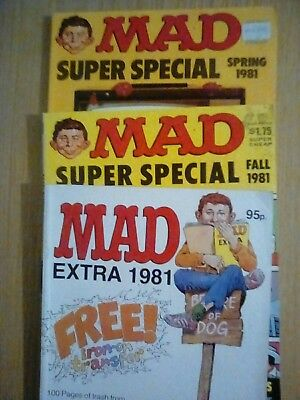 mad magazine 1981 , 3 copies super special and extra issues