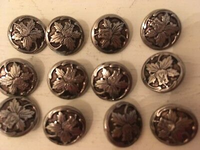 Lot of 12 Matching Antique Vintage Metal Flower Daffodil  Embossed BUTTONS 1/2""