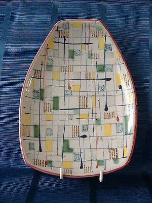 Rye Pottery Hand Painted 1950'S Abstract Form Footed Dish – Mosaic Pattern