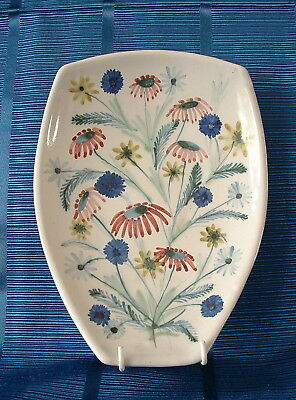 Rye Pottery Hand Painted 1950'S Abstract Form Footed Dish – Flowers / Floral