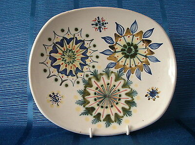 Rye Pottery Hand Painted 1950'S Oval Plate – Atomic / Floral Design