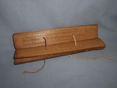 Antique South East Asia TOP HIGH AGED PALM LEAF MANUSCRIPT WITH WOOD COVERS