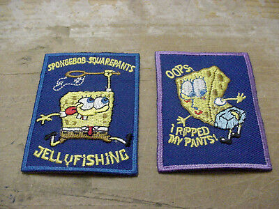 """Vintage lot of 2 Spongebob  Embroidered Iron On/ sew on  Patch - Cartoon  -3""""x2"""""""