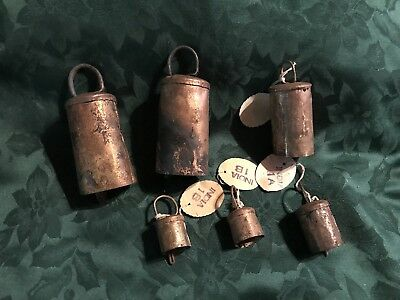 Vintage Brass Bells, Lot Of 6, Two Sizes India