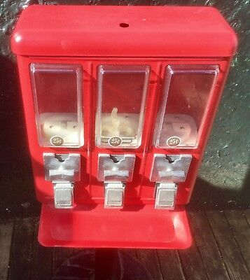 """Metal Triple Compartment Candy Vending Machine """"as is"""" PICK UP ONLY"""