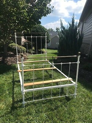 Antique Victorian Style Twin Brass and Iron Bed Frame with Cast Iron Side Rails