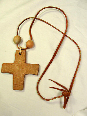 Signed Tseme Taos Pueblo Pottery Micaceous Clay Bead Cross Leather Necklace 1991