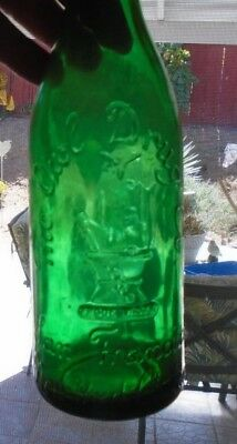 Owl Drug Citrate Bottle  2-wing  Green w/ Blob Top     9-1/2""