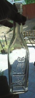 Owl Drug Bottle  Whiskey Top  Clear  w/ Pot Belly Pete  1 wing bird   10-1/4""