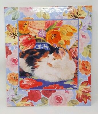 Hallmark  Photo Safe Album Scrapbook Large Expandable Tabby Cat Among Tulips New