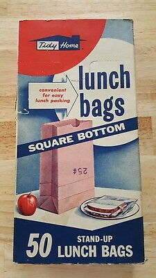 Vintage pre 1950's TIDY HOME KRAFT LUNCH BAGS Box advertising brown paper