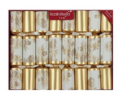Robin Reed H8 Christmas 8pc 10in Party Themed Crackers Gold Glitter Pine Cones