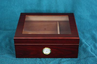 Cedar Wood Cigar Humidor with Tempered Glass Top and Hygrometer - Brown