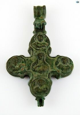Ancient 12-14th Ct. Christ Pantokrator Byzantine Bronze Reliquary Cross Pendant