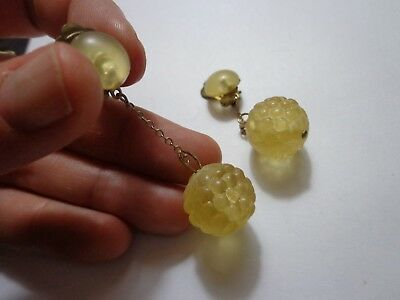 Antique Victorian Art Nouveau Celluloid Dangle Earrings