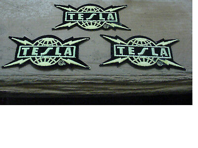 """VINTAGE LOT of 3 TESLA PATCH EMBROIDERED 80'S METAL-IRON ON PATCH- 4"""" LICENSED"""