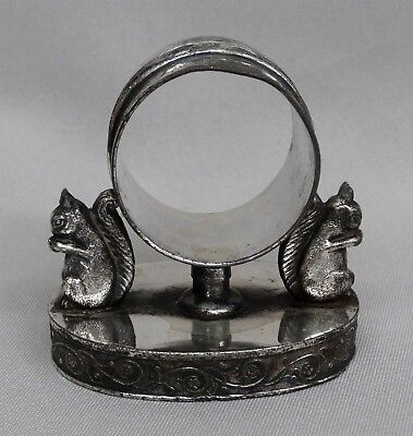 Victorian Silverplated Figural Napkin Ring, Two Squirrels, Hartford Silver Plate