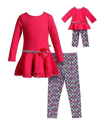 Dollie and Me Girls Tunic with knit Pants Size 12 with Matching Doll Outfit NWT