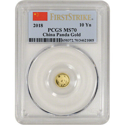 2018 China Gold Panda 1 g 10 Yuan - PCGS MS70 - First Strike