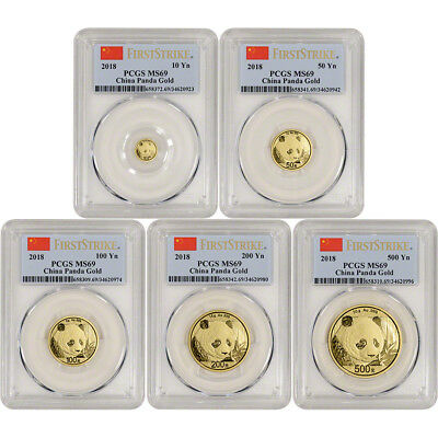 2018 China Gold Panda - 5-pc. Year Set - PCGS MS69 - First Strike