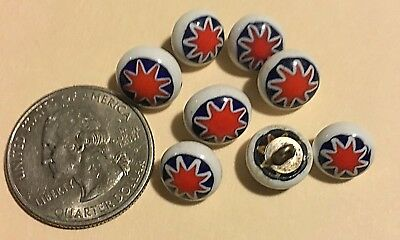 Vintage Small White CERAMIC Glass Buttons, Painted Star . Set of 8, beauties!