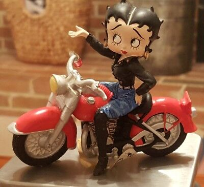 Vintage Betty Boop Figurine Cherry Red Motorcycle Black Boots w/Tags 1999
