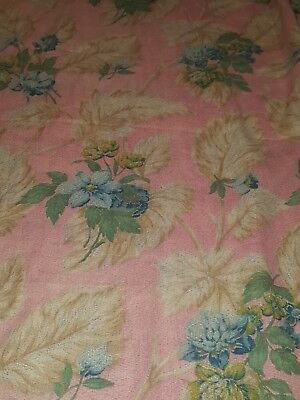 *Antique Cretonne French 1910 NEARLY 3 Yards NEVER USED PINK TROPICAL Rare NR*