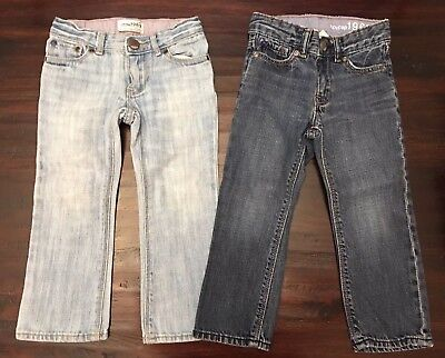(2) Two BABY GAP Lot Girls - Toddler 3 Yrs 3T Adj. Waist Playdate Straight Jeans