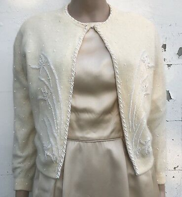 Angora Lambswool Cardigan Ivory Beaded Detail Simpson's 1960s Clothing Sweater