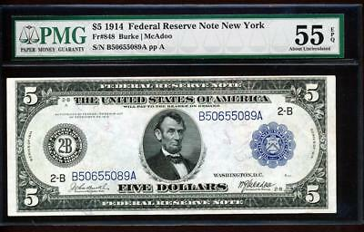 Fr.850 1914 $5 NEW YORK FRN BURKE-MCADOO+ PMG ABOUT NEW UNCIRCULATED 55EPQ RARE!