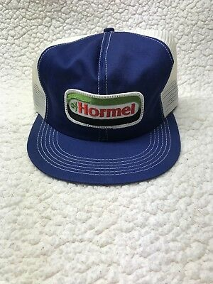 Vintage HORMEL Mesh Snapback Trucker Hat Patch K PRODUCTS Made In USA