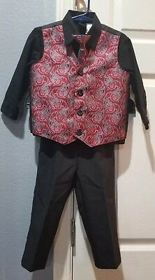 Toddler Suit Set 4 Piece Maroon And Black Size 3T