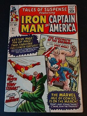 Tales Of Suspense #61 (Jan 1964, Marvel) Iron Man, Mandarin, Captain America 5.0