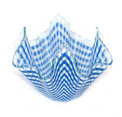 Vintage blue & white check hanky Chance Glass bowl in lovely condition