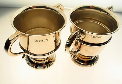 Vintage 1964 Birmingham Matched Pair Sterling Silver Chalice Goblets 113.4 grams