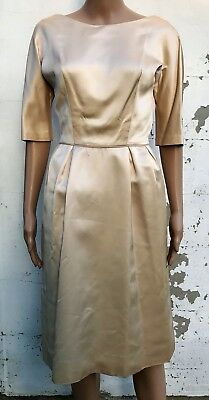 1960s Satin Wedding Gown Champagne Simple Tea Length Dress 3/4 Sleeve A Line