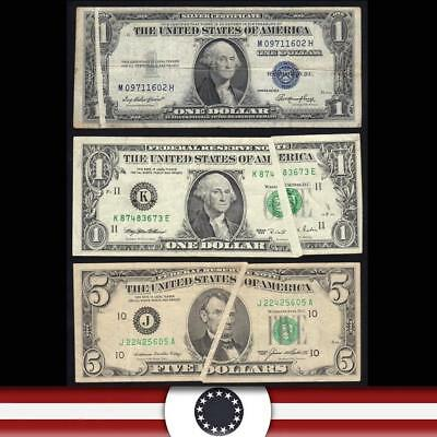 GROUP of (3) $1 & $5  FRN and SILVER *GUTTER FOLD ERRORS*  FREE SHIPPING!