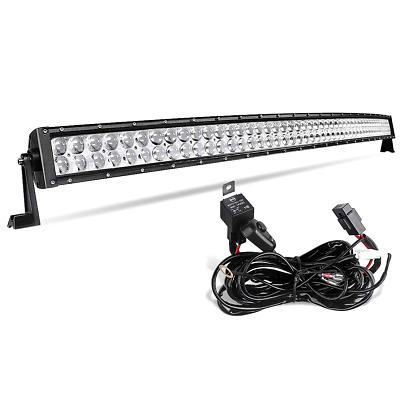 LED Light Bar 52 Inch Curved AUTO Work Light 4D 500W with 8ft Wiring Harness