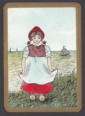 Antique English Wide Playing Card Single - I'm A Little Dutch Girl - Excellent