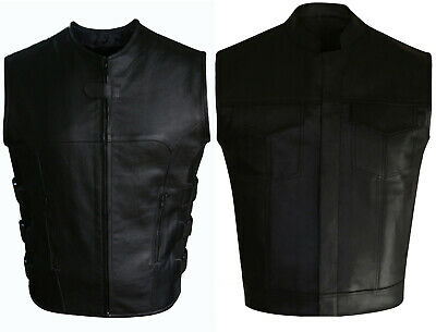 Men's Motorcycle Biker Swat Style Leather Vest With Two Conceal Carry Pockets