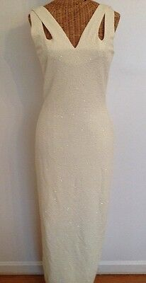 NOS Vintage Morton Myles The Warrens Ivory Sparkles Cut Out Fitted Gown 8