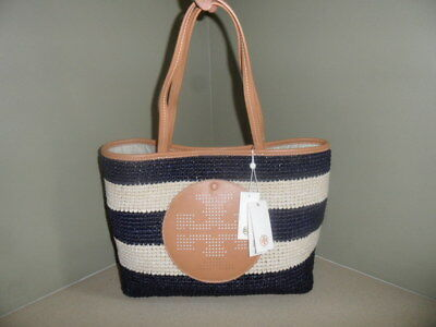 Nwt Tory Burch Straw Tan Navy Stripe Tote Hand Bag Beach Perforated Logo