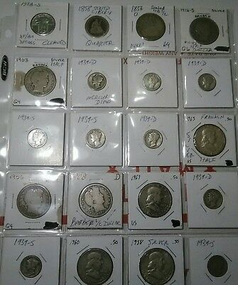 U.S. 20pc Vintage Silver Coin Lot 1856-1963 $5.90 Face Value