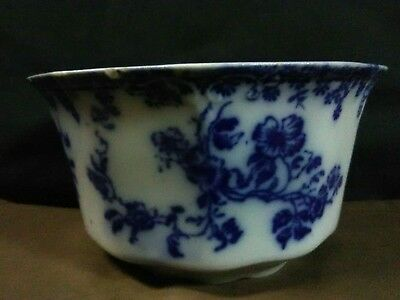 """Antique Flow Blue WH Grindley & Co. """"Janette"""" Embossed Scalloped Bowl,England"""