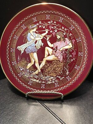 """Vintage Decorative Greek Ceramic Wall Hanging Plate 8"""" Hand Made In Greece 24k"""