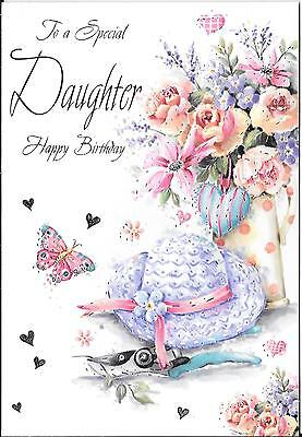 Birthday Card To A Special Daughter - Flowers, Hat, Secateurs, Butterfly