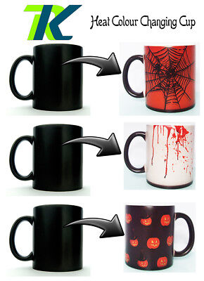 HALLOWEEN CUP changing colour mug GIFT Heat Sensitive Mug TEA COFFEE CUP