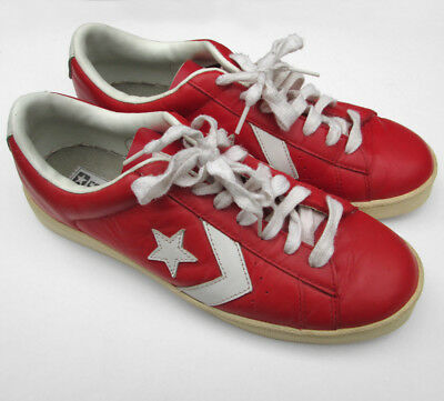 VINTAGE 80's CONVERSE ALL STAR RED LEATHER LO-TOP SNEAKERS SIZE MENS US 9 270 JP