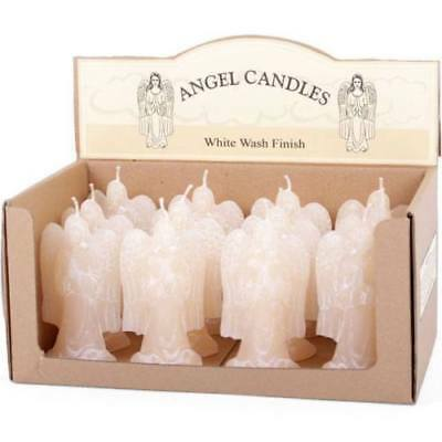 Angel Candle with Wings - white wash finish